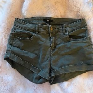 H&M Army Green Jean Shorts